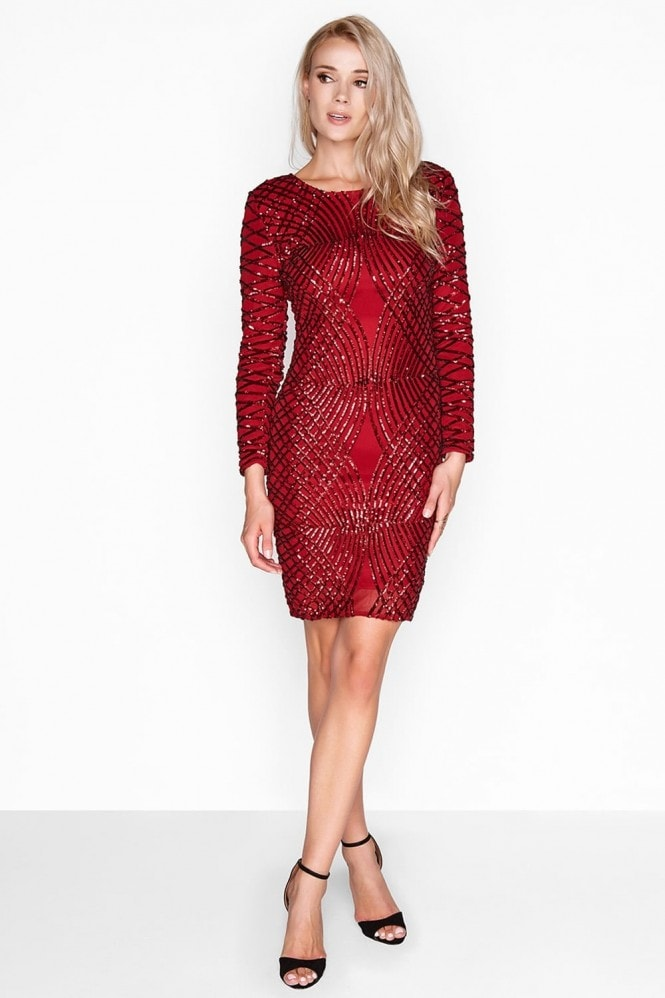 fea6815544b Outlet Girls On Film Red Sequin Dress - Outlet Girls On Film from Little  Mistress UK