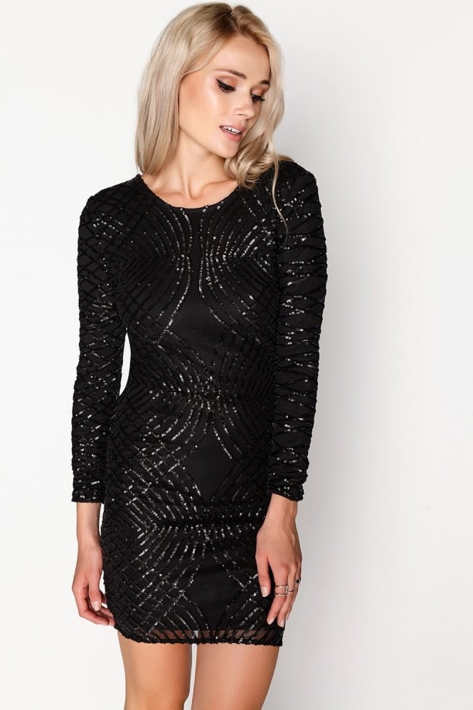 0adf6f5a414 Outlet Girls On Film Black Sequin Dress - Outlet Girls On Film from Little  Mistress UK