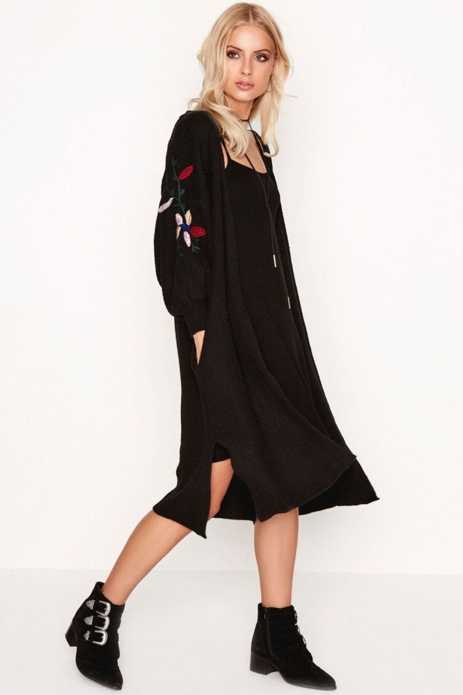Outlet Girls On Film Black Embroidered Cardi