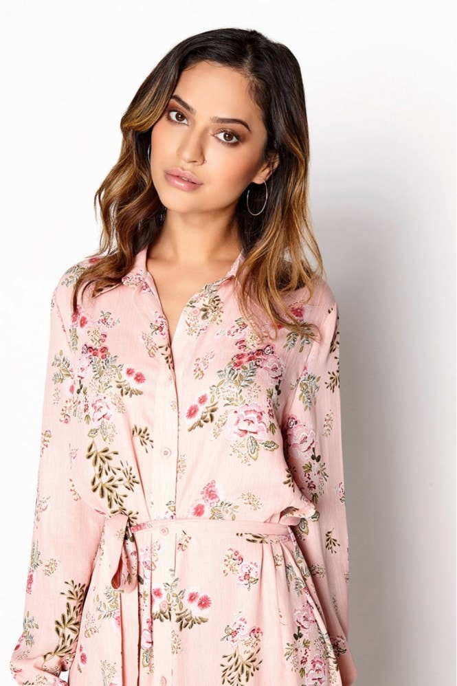 Outlet Girls On Film Pink Shirt Dress