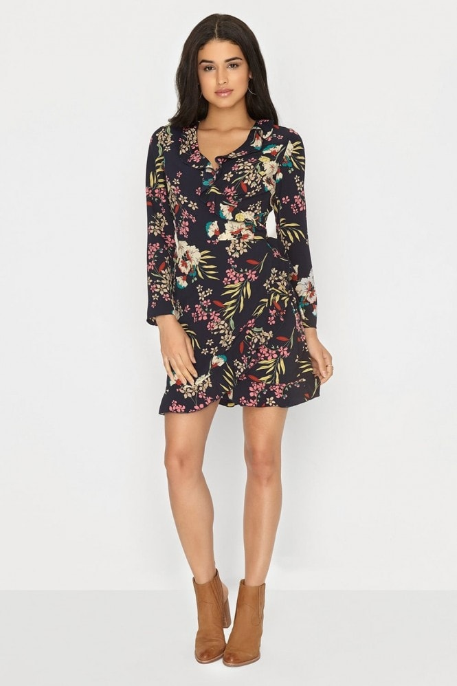Outlet Girls On Film Navy Wrap Dress