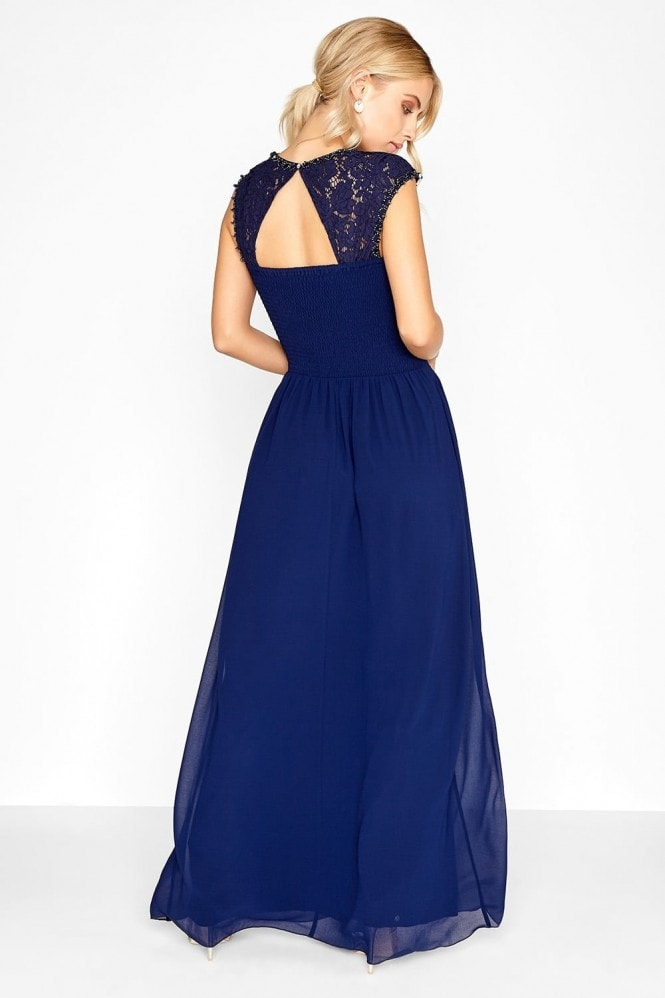 Little Mistress Navy Lace Bust Maxi