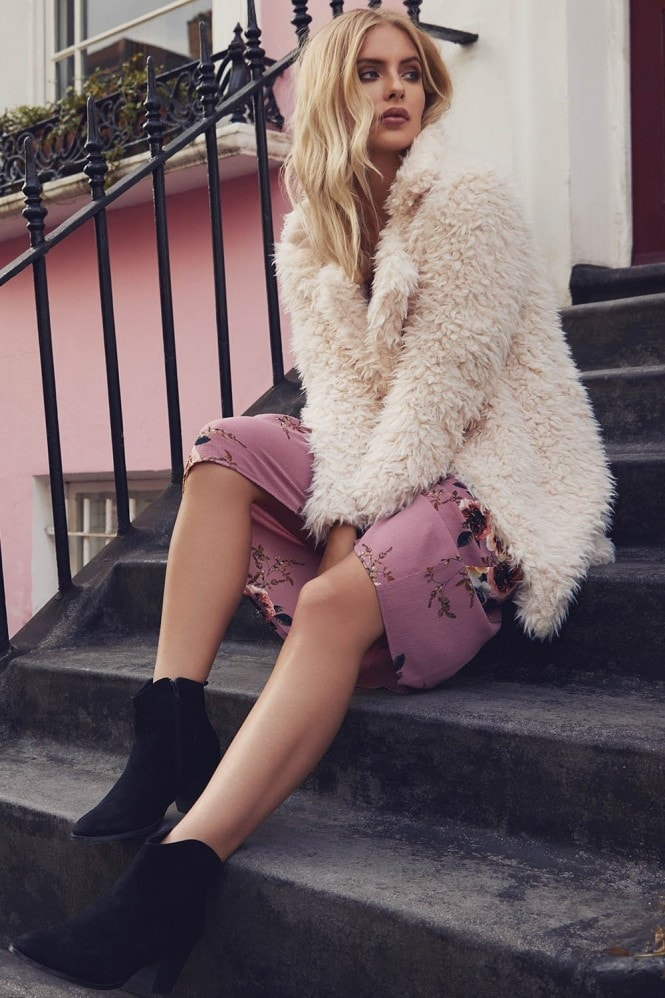 Outlet Girls On Film Cream Fur Coat