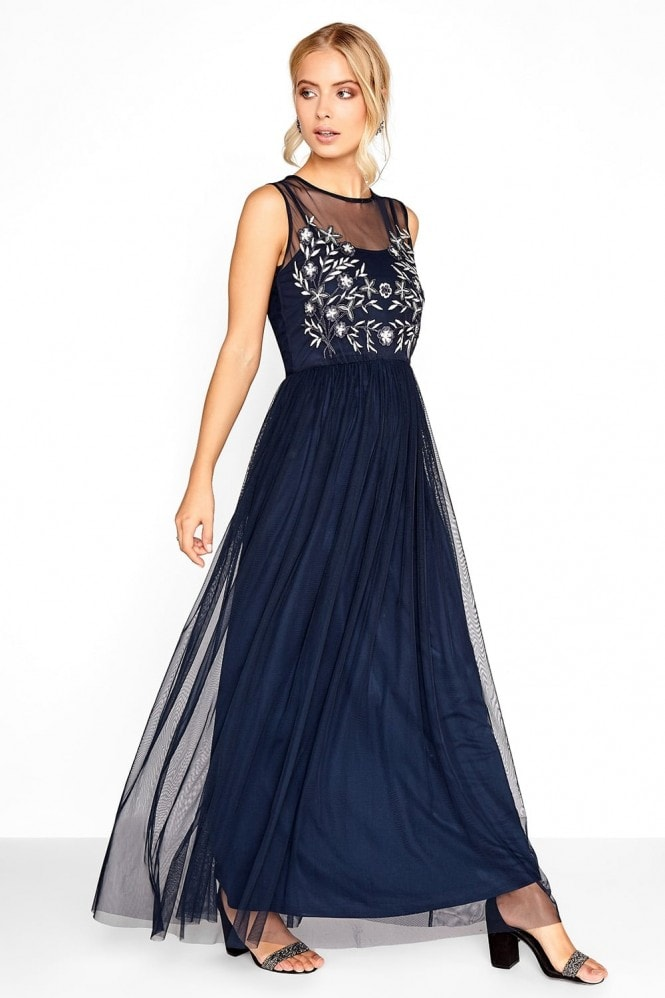Little Mistress Navy Embroidered Maxi