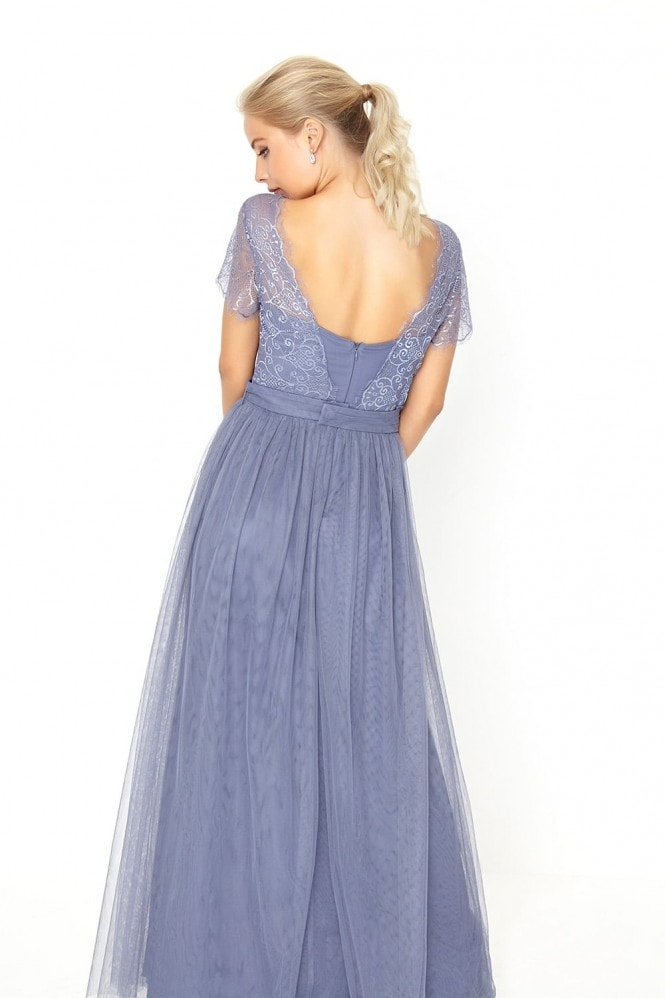 Little Mistress Grey Lace Overlay Maxi Dress