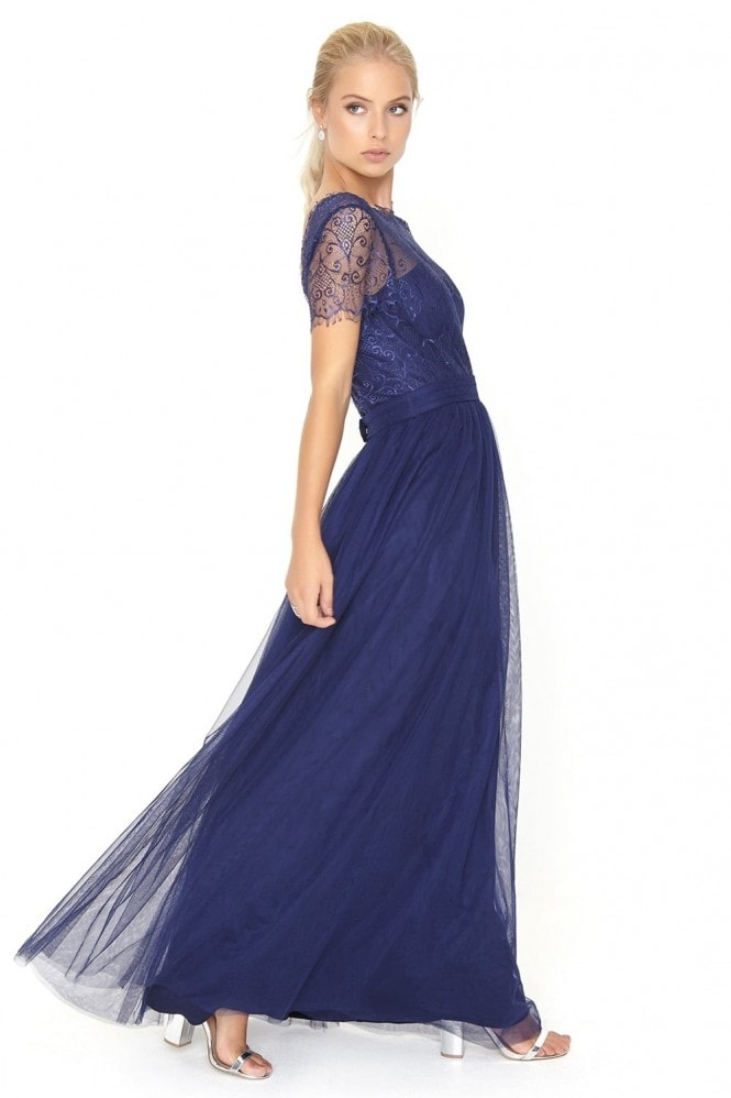 Little Mistress Navy Lace Overlay Maxi Dress
