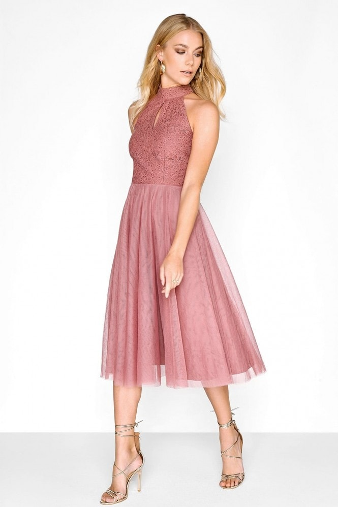 Little Mistress Pink Lace Mesh Prom