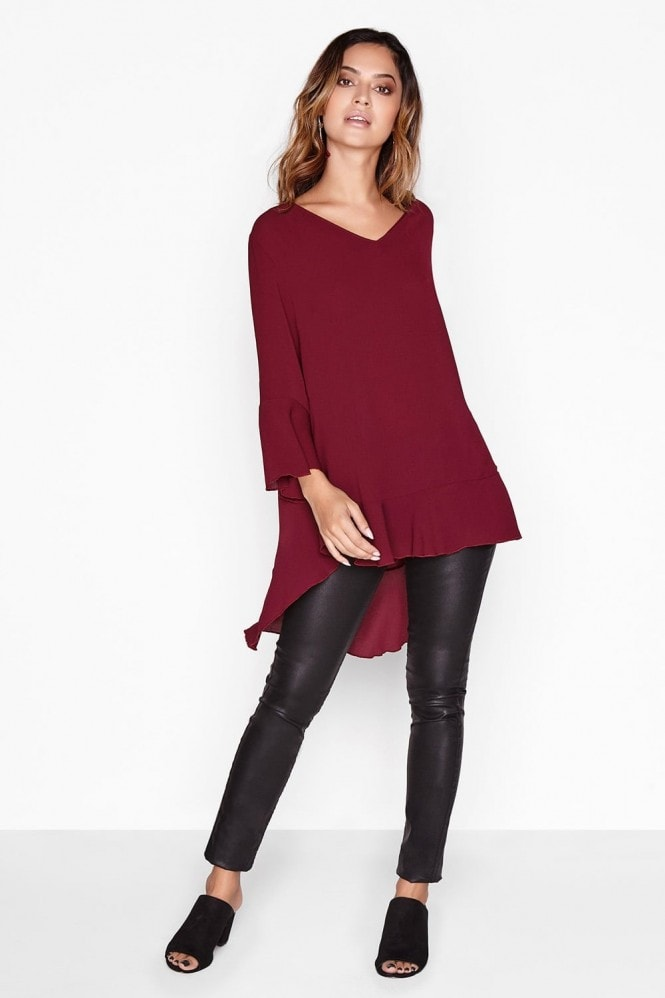 Outlet Girls On Film Burgundy Frill Top
