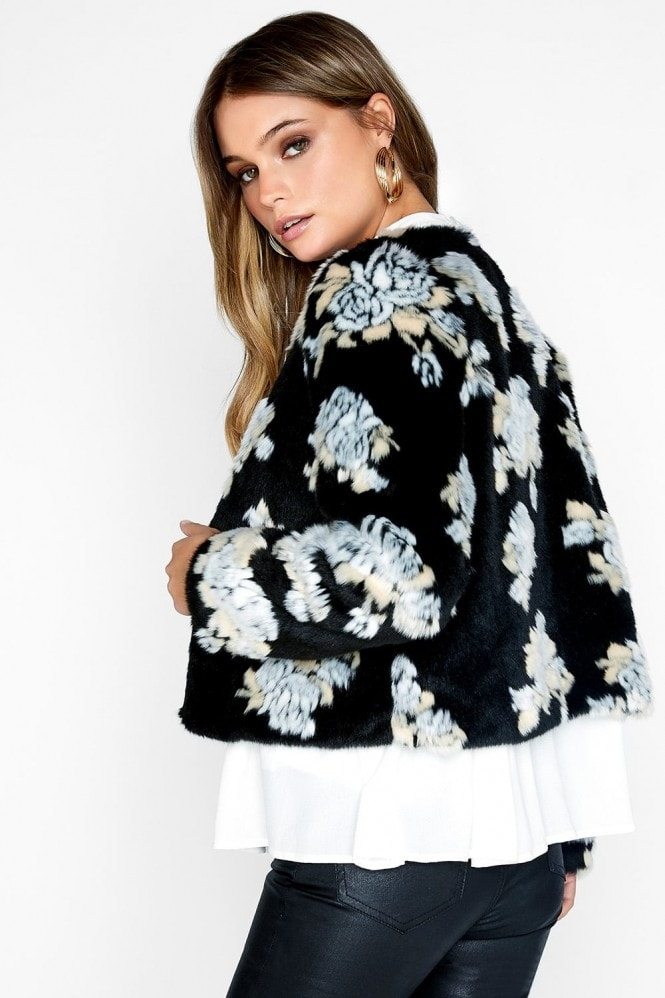 Girls on Film Floral Fur Coat