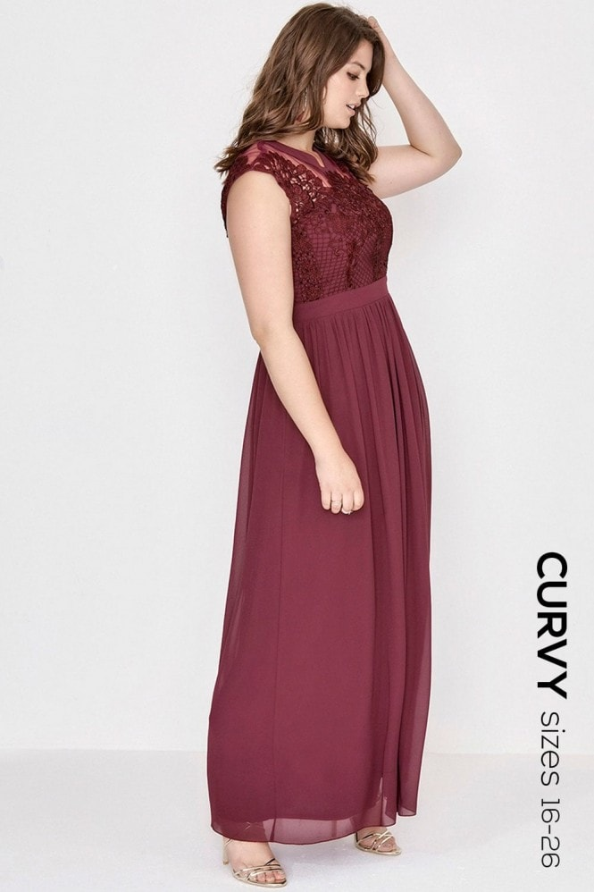 Little Mistress Curvy Merlot Crochet Maxi Dress