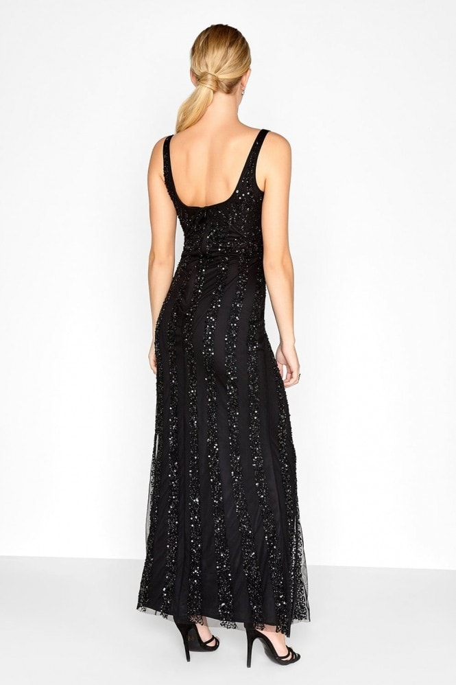 Little Mistress Black Sequin Maxi Dress