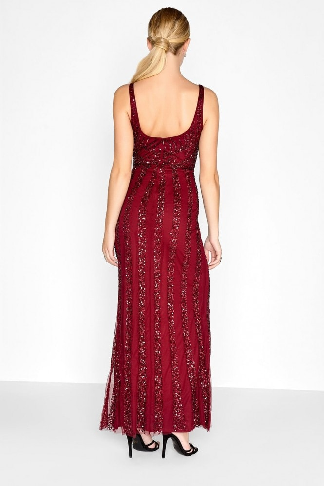 Little Mistress Burgundy Sequin Maxi