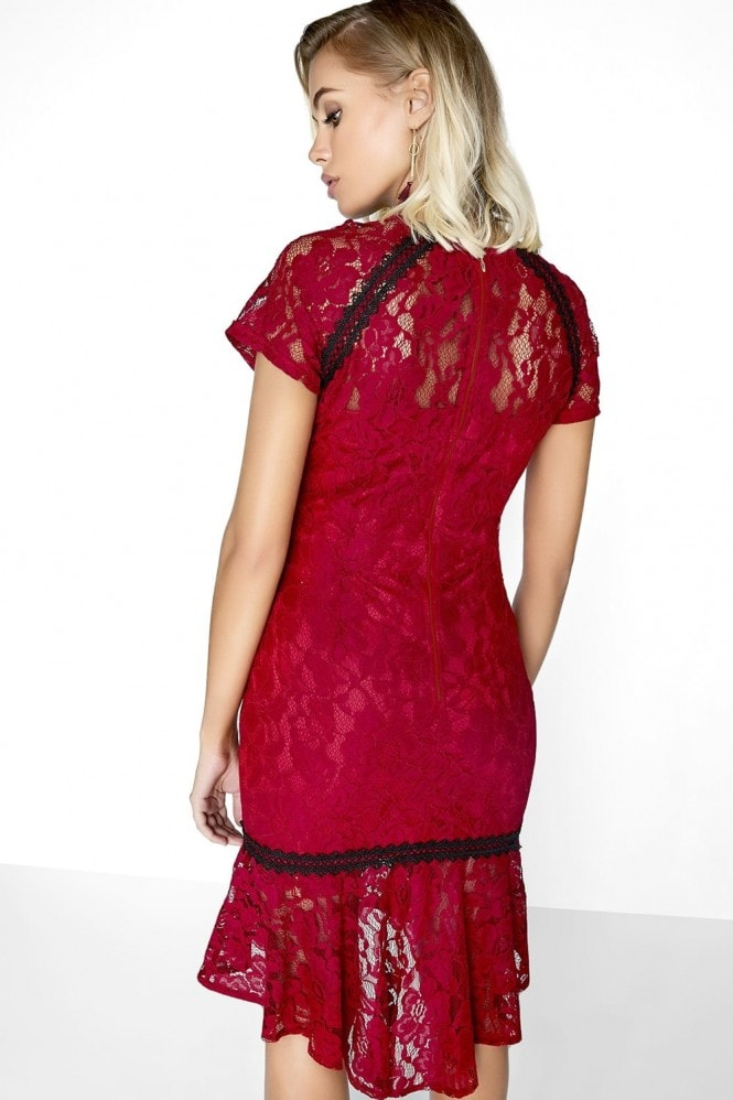 Outlet Paper Dolls Wine Lace Dress