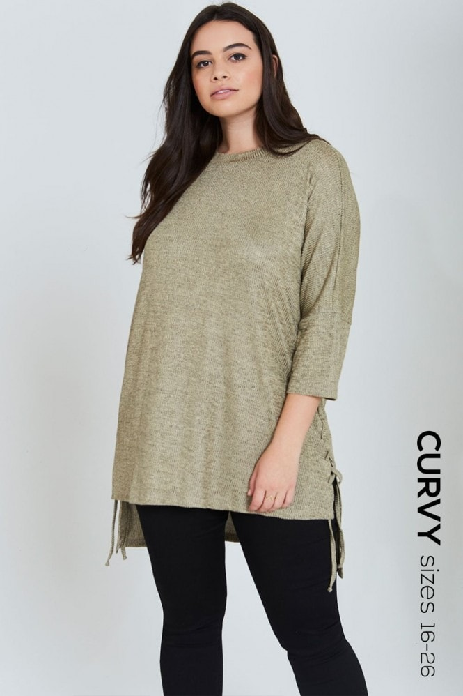 Outlet Girls On Film Gold Tie Side Jumper