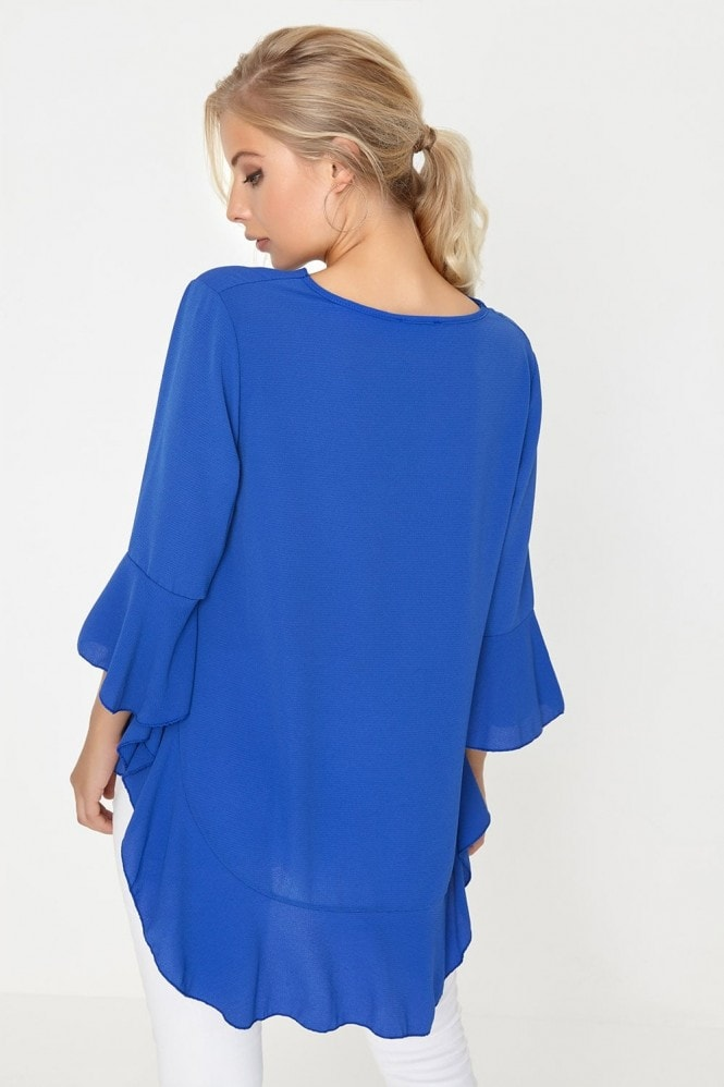 Girls on Film Cobalt Frill Top