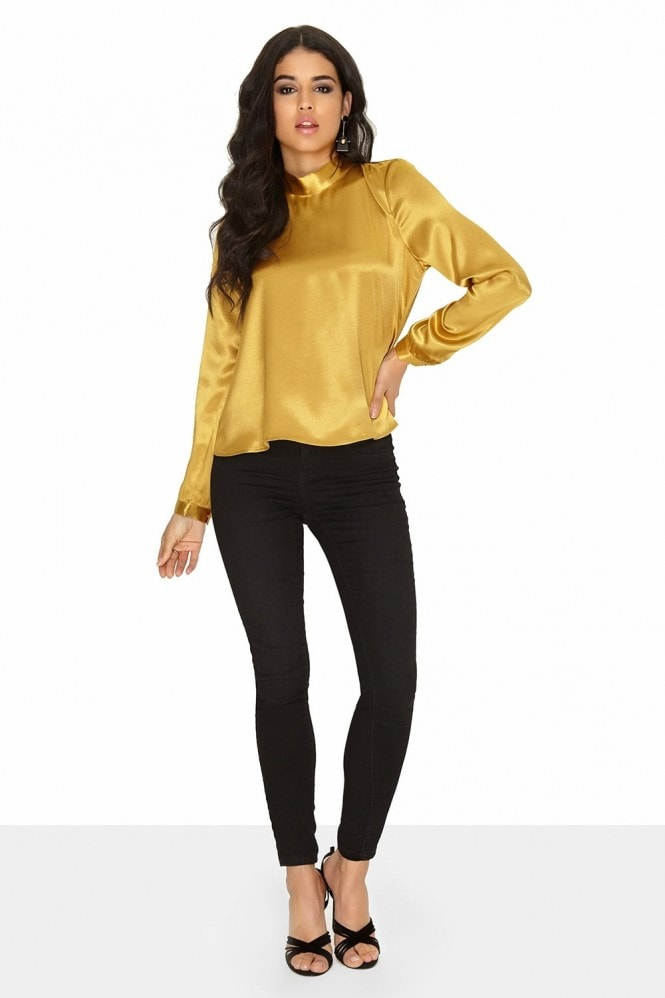 ab81f1b9c888 Outlet Girls On Film Gold Bow Blouse - Outlet Girls On Film from Little  Mistress UK