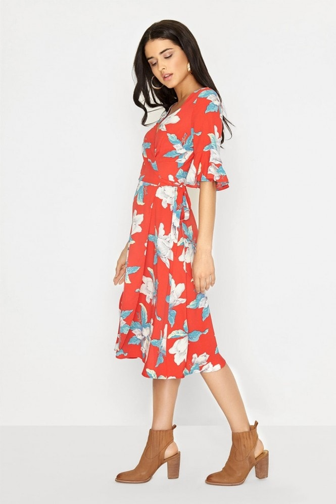 Girls on Film Red Midi Dress