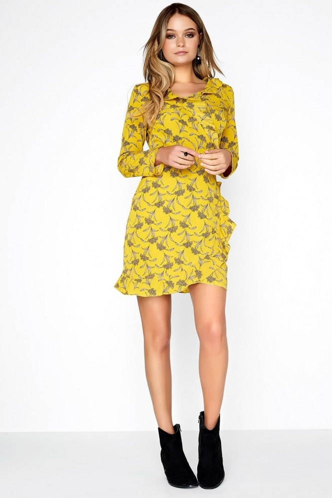 Girls on Film Mustard Wrap Dress