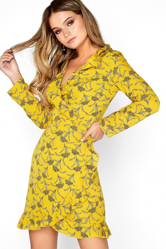 Outlet Girls On Film Mustard Wrap Dress