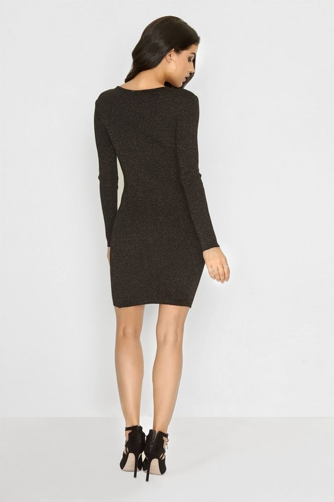 Outlet Girls On Film Black Knitted Lurex Dress