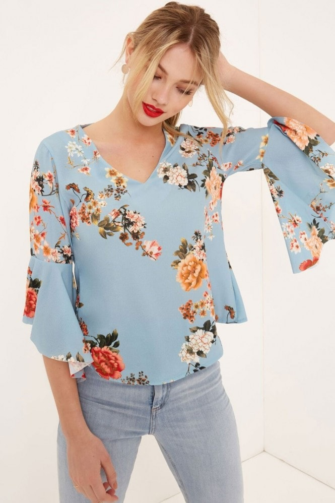 Outlet Girls On Film Pale Blue Floral Print Top