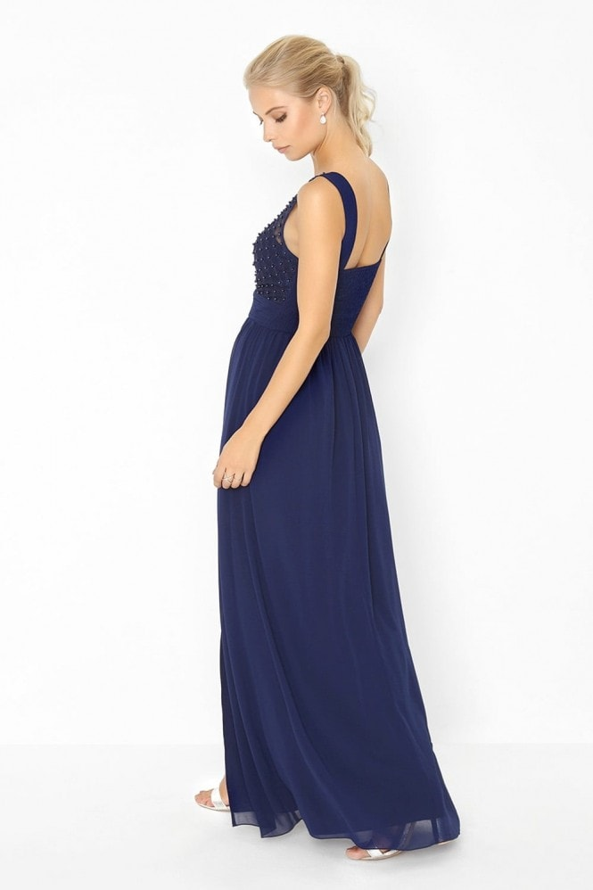 Little Mistress Navy Pearl and Lace Maxi