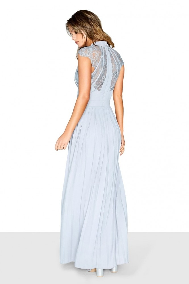 Grey Pleated Maxi Dress
