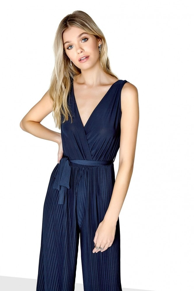 Outlet Girls On Film Navy Pleat Jumpsuit