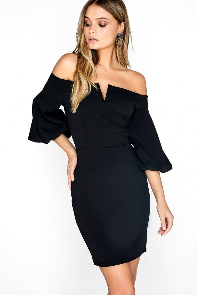 Girls on Film Black Bardot Dress