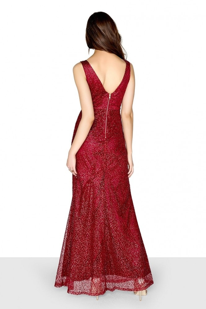 Little Mistress Red Glitter Maxi Dress