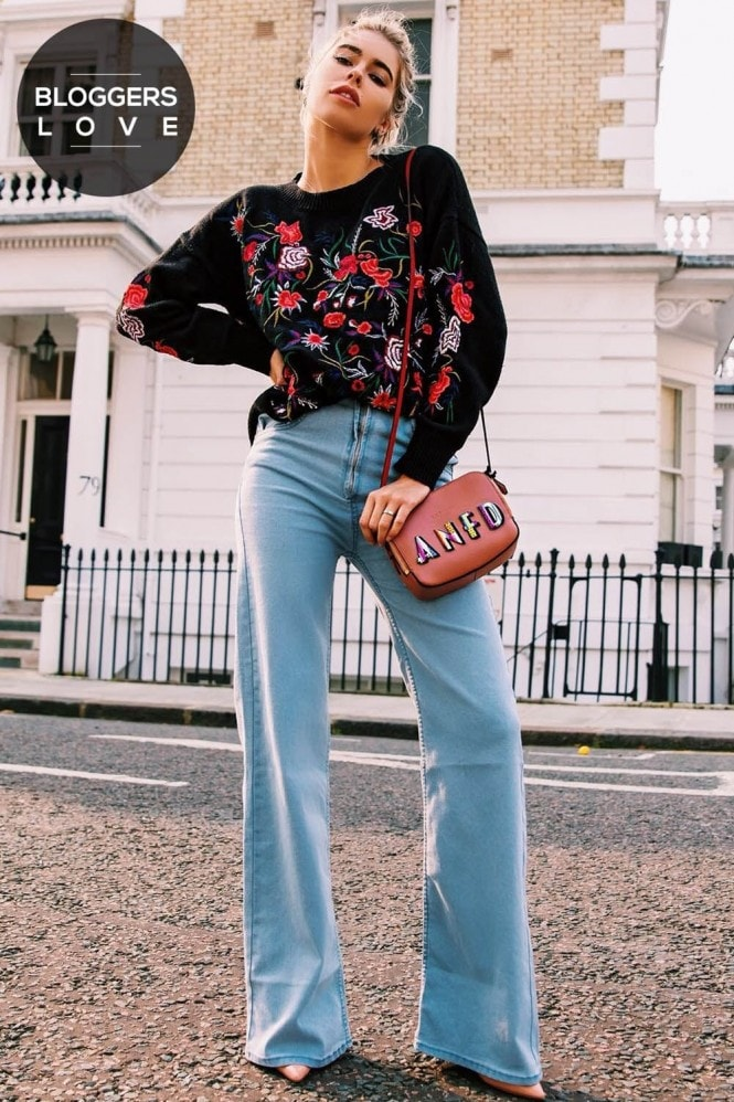 Outlet Girls On Film Embroidered Floral Jumper