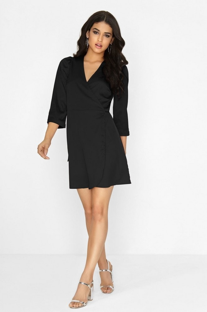 Outlet Girls On Film Black Wrap Dress
