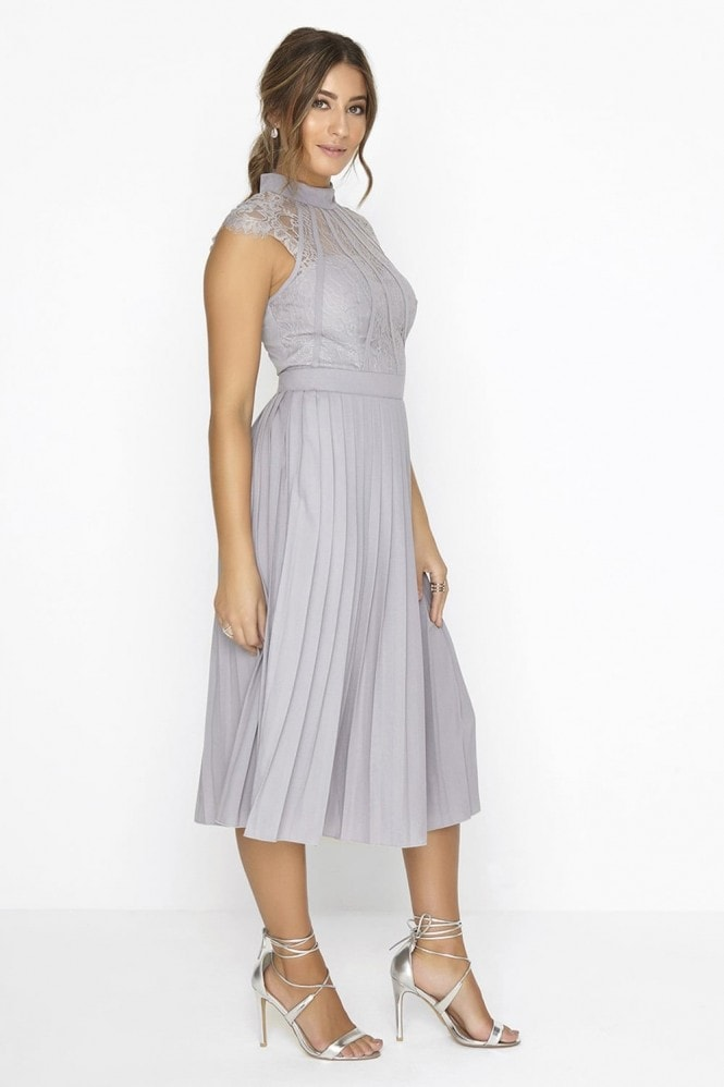 Grey Pleated Midi Dress