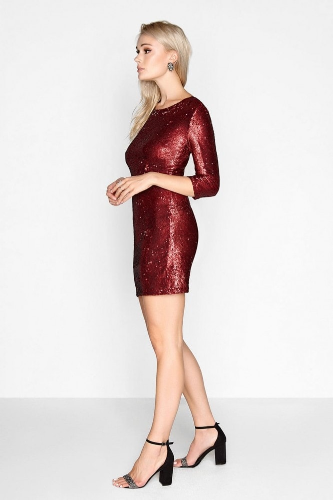 Outlet Girls On Film Red Sequin Bodycon