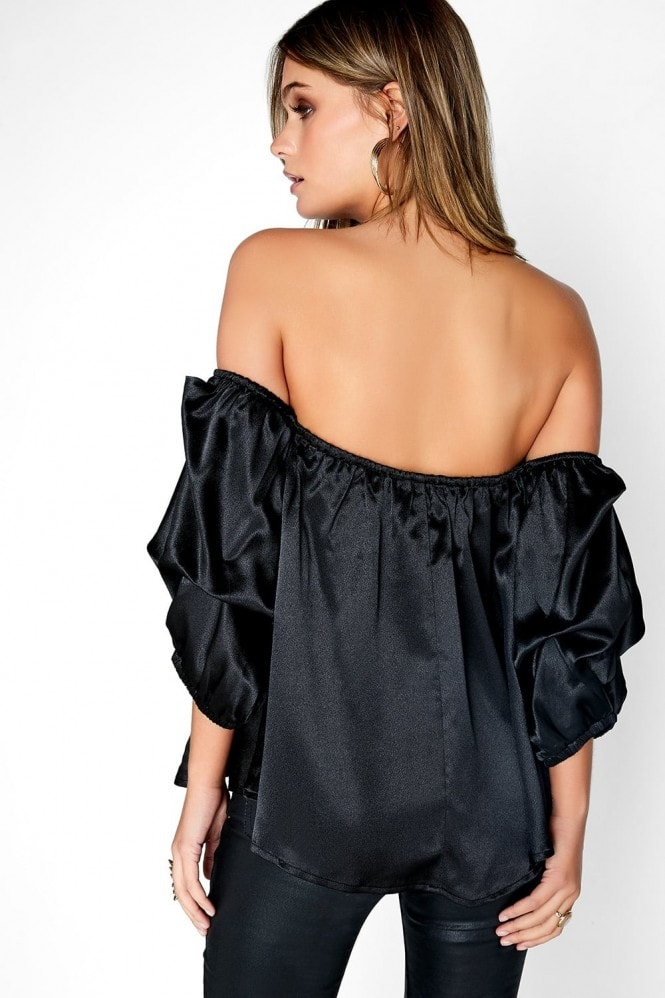 Outlet Girls On Film Black Satin Top