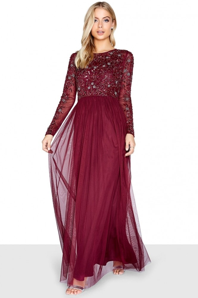 Little Mistress Burgundy Embellished Maxi