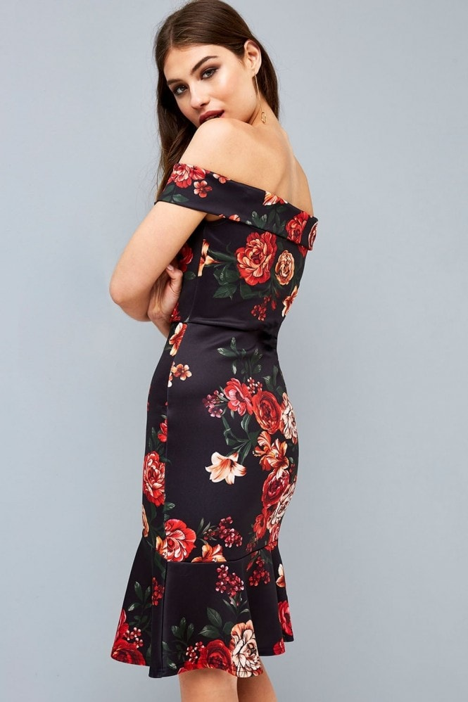 Outlet Girls On Film Black Floral Bardot Bodycon