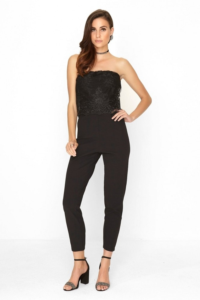 Outrageous Fortune Black Lace Jumpsuit