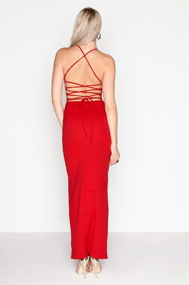 Girls on Film Red Lace Back Maxi