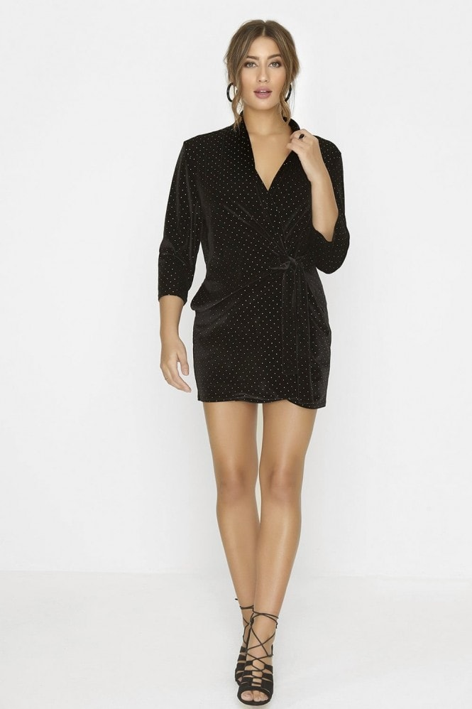 Outrageous Fortune Black Wrap Dress