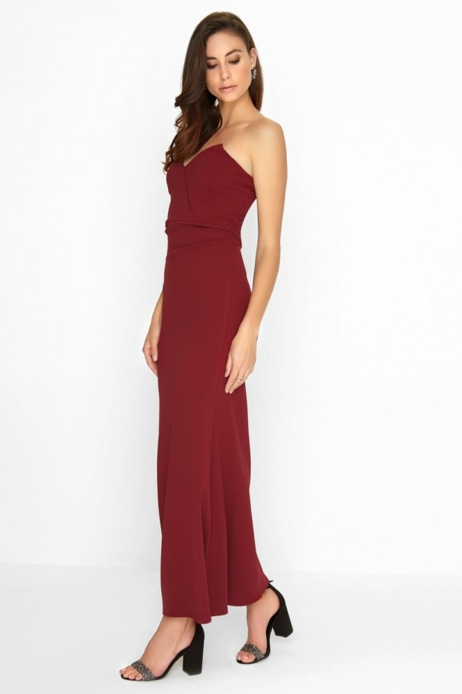 Outlet Girls On Film Wine Bandeau Maxi