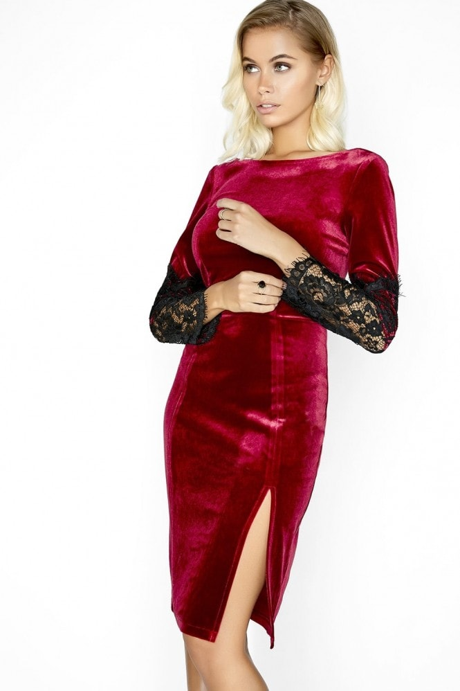 Outlet Paper Dolls Wine Velvet Dress
