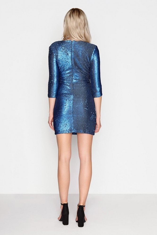 Girls on Film Blue Sequin Bodycon