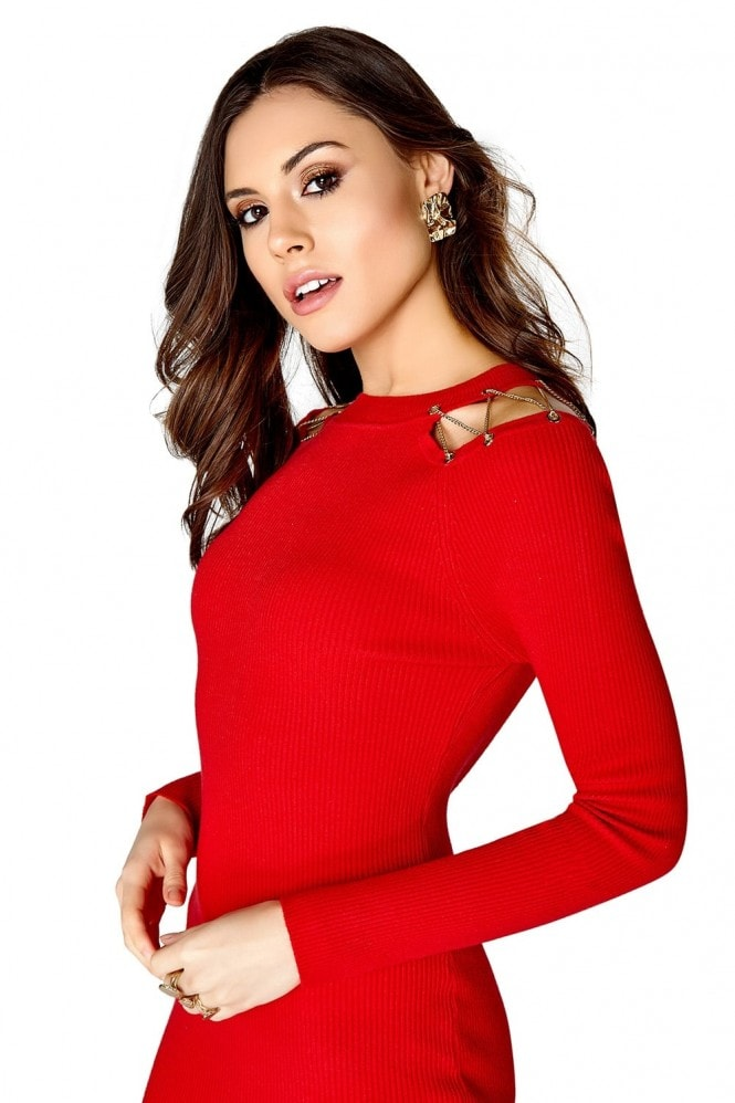 Girls on Film Red Knitted Dress