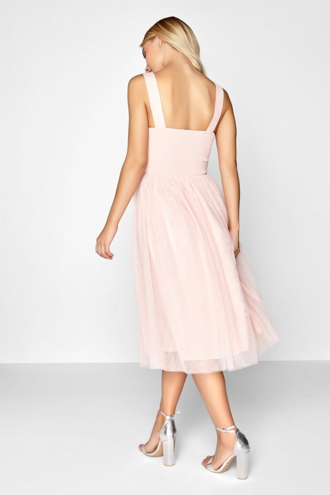 Little Mistress Salmon Sequin Midi Dress