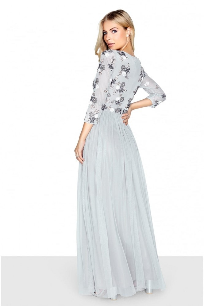 Little Mistress Grey Embellished Maxi