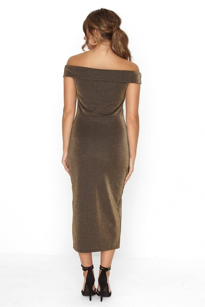 Outrageous Fortune Gold Bardot Dress