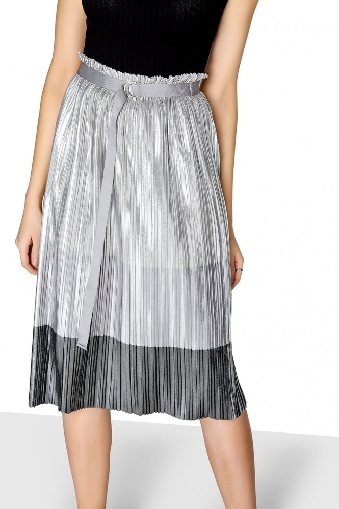 Outlet Girls On Film Metallic Pleated Skirt