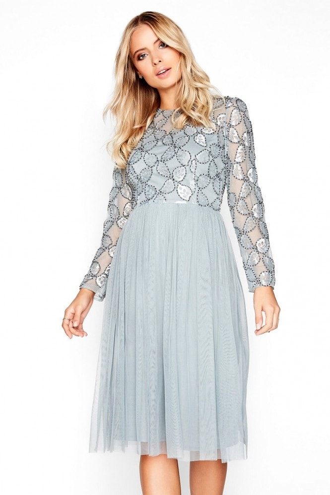 Grey Embroidered Midi