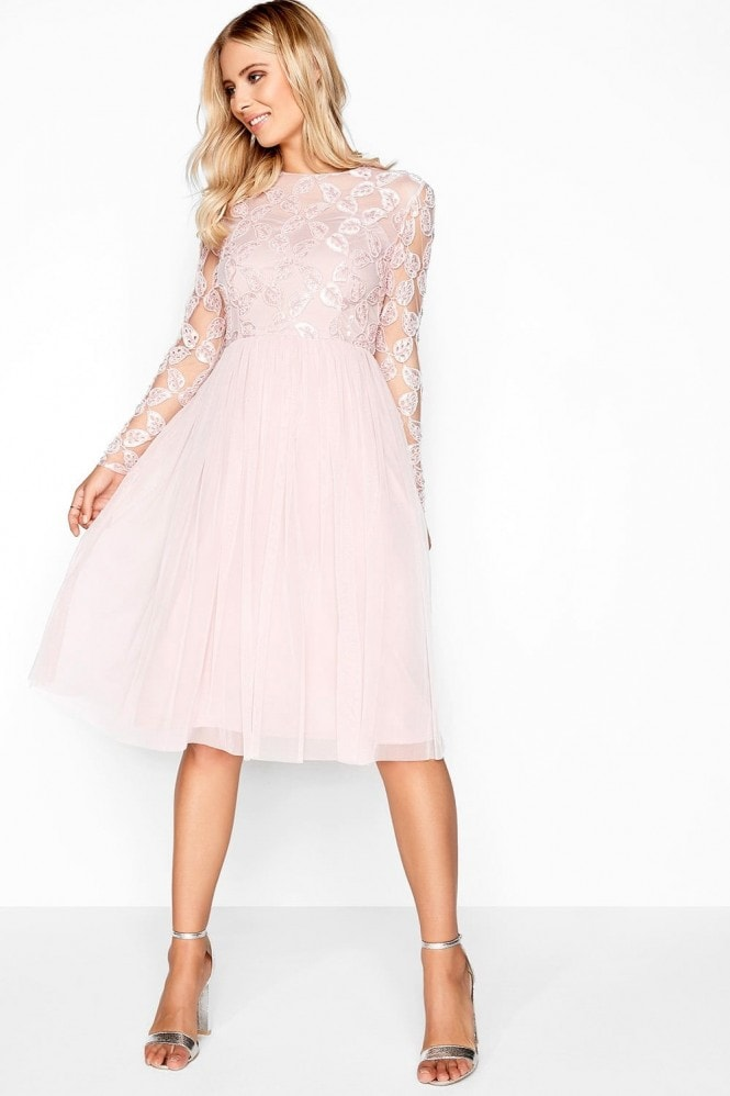 Little Mistress Pink Embroidered Midi